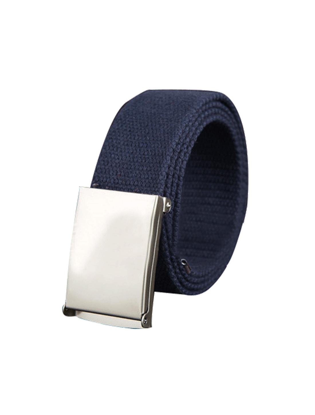 "Unisex Canvas No Hole Slide Metal Buckle Waist Belt Width 1 1/2"" Navy Blue"