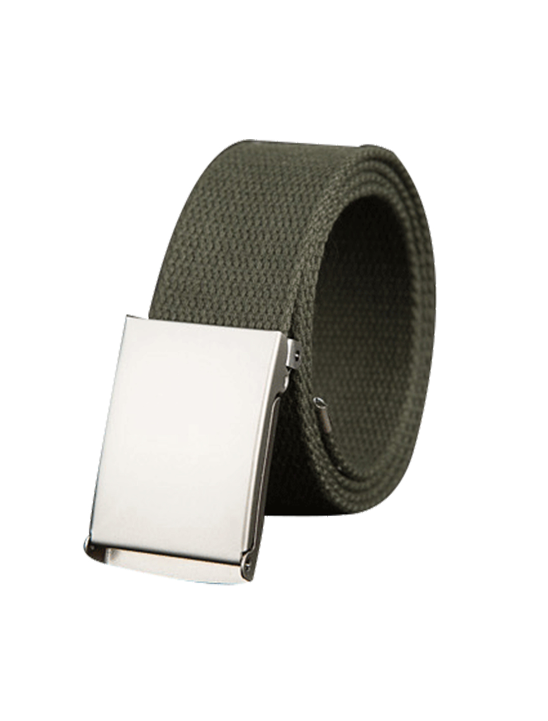 "Unisex Canvas No Hole Slide Metal Buckle Waist Belt Width 1 1/2"" Army Green"