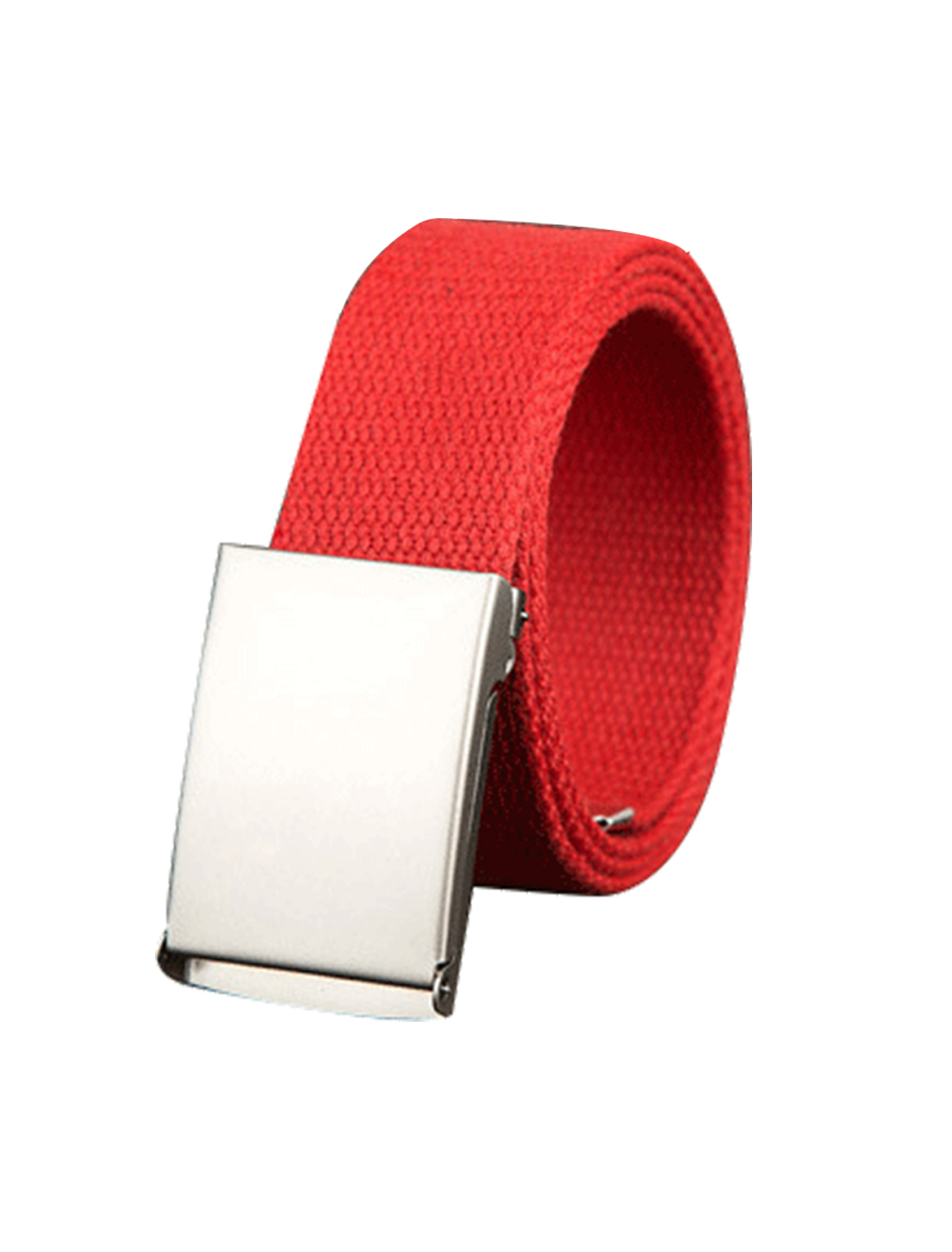 "Unisex Canvas No Hole Slide Metal Buckle Waist Belt Width 1 1/2"" Red"