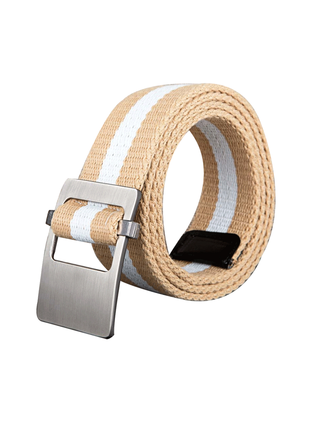 Unisex Canvas Adjustable Holeless Flat Metal Buckle Stripe Belt Khaki