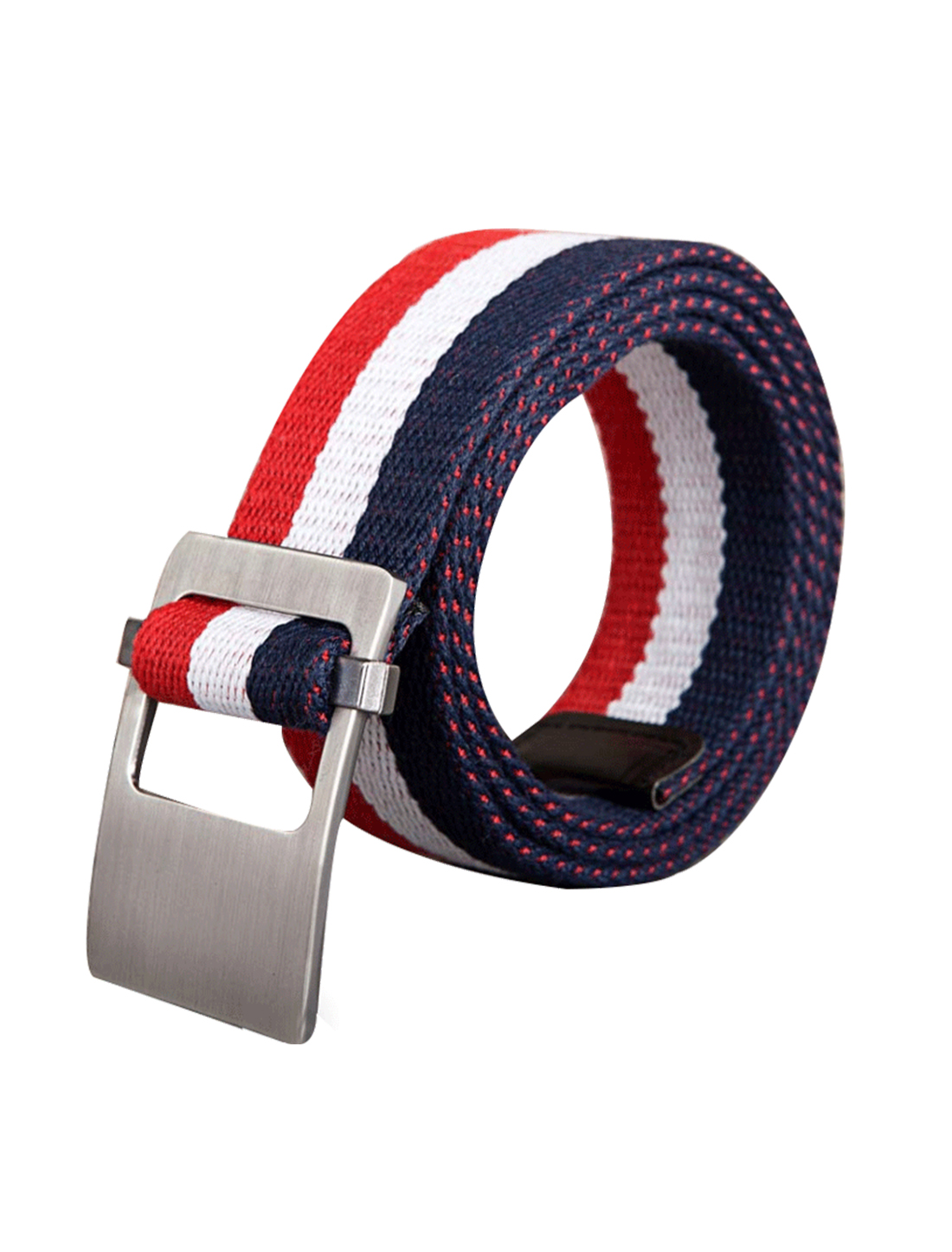 Unisex Canvas Adjustable Holeless Flat Metal Buckle Stripe Belt Navy Blue Red
