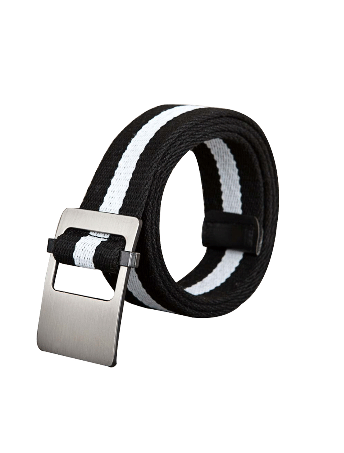 Unisex Canvas Adjustable Holeless Flat Metal Buckle Stripe Belt Black