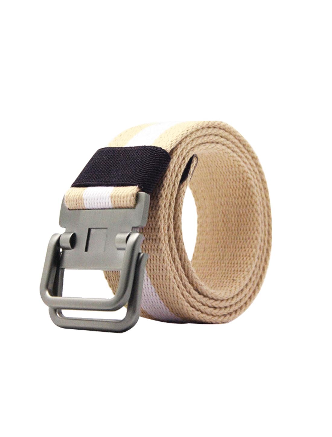Unisex Canvas Double Ring Adjustable Holeless Metal Buckle Stripe Belt Khaki