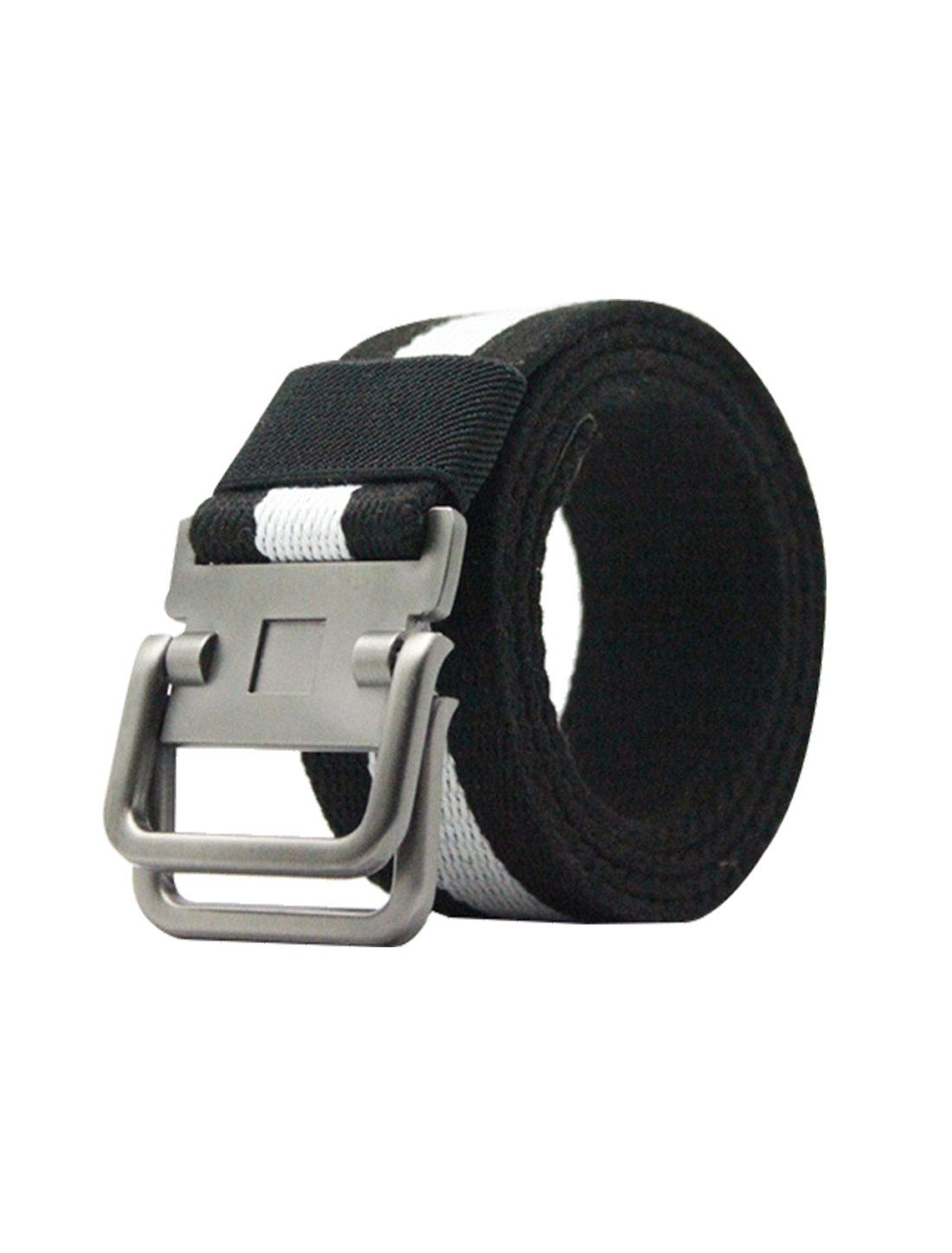 Unisex Canvas Double Ring Adjustable Holeless Metal Buckle Belt Black White