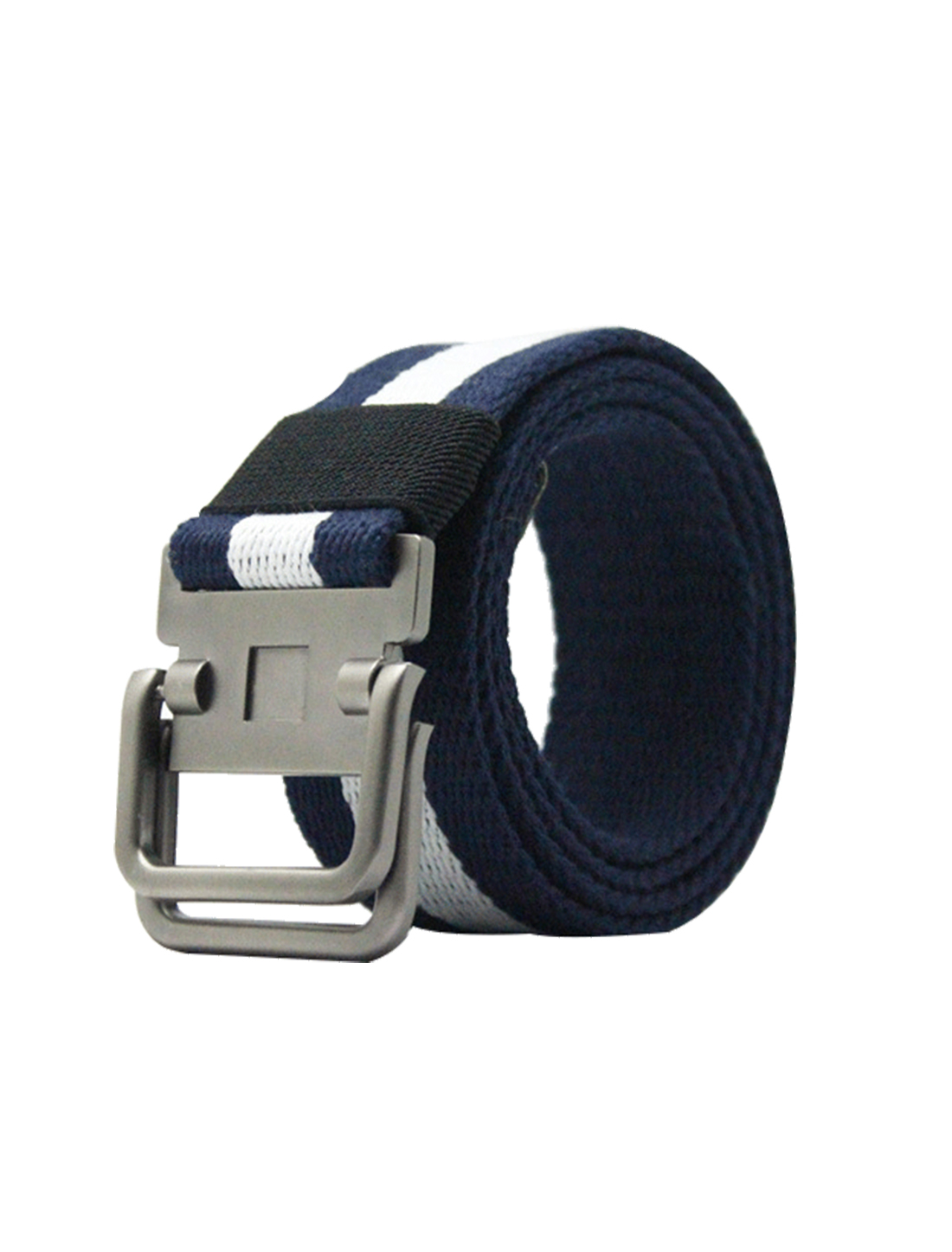 Unisex Canvas Double Ring Adjustable Holeless Metal Buckle Belt Navy Blue White
