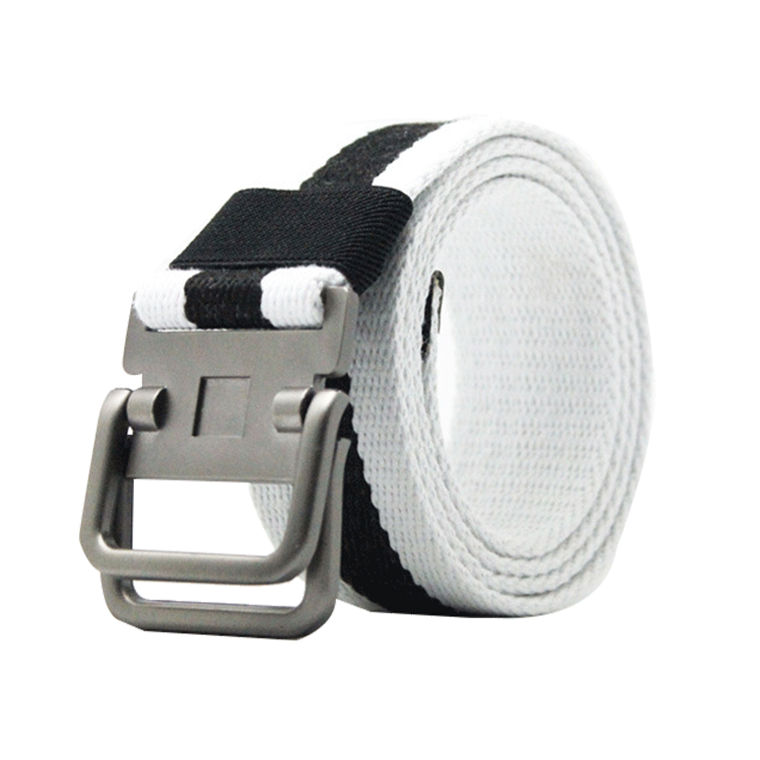 Unisex Canvas Double Ring Adjustable Holeless Metal Buckle Belt White Black