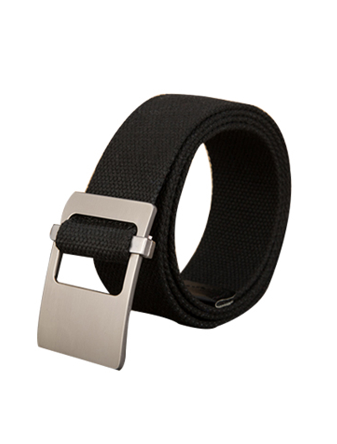 Unisex Canvas Adjustable Holeless Flat Metal Buckle Solid Color Belt Black
