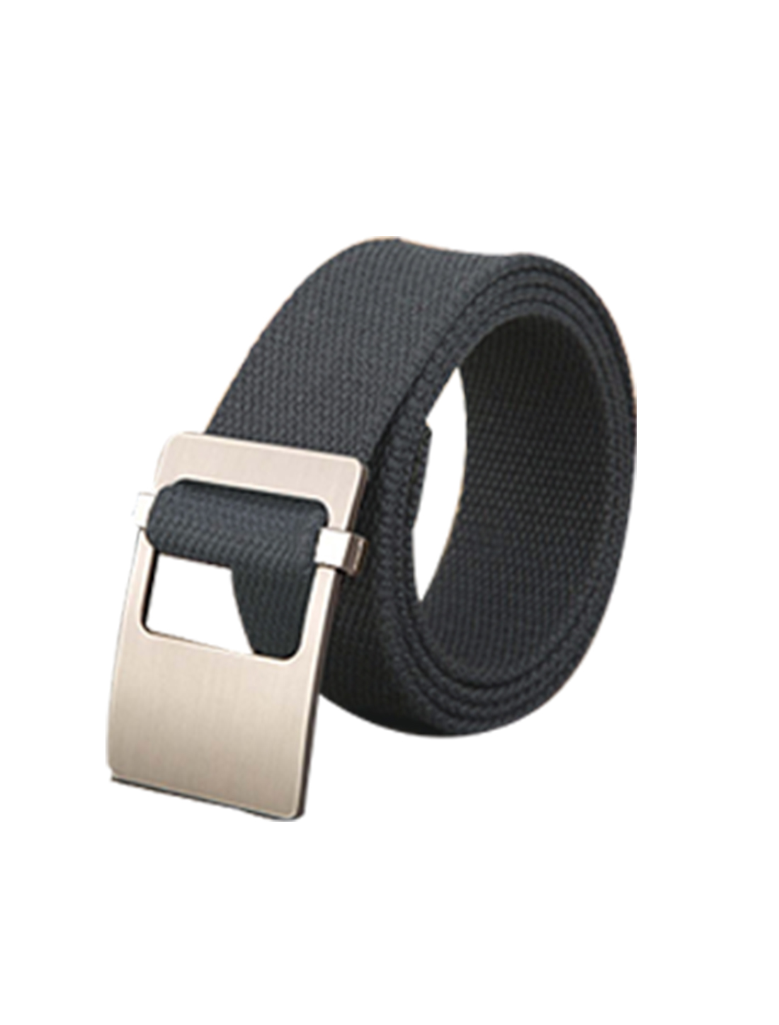 Unisex Canvas Adjustable Holeless Flat Metal Buckle Solid Color Belt Dark Gray