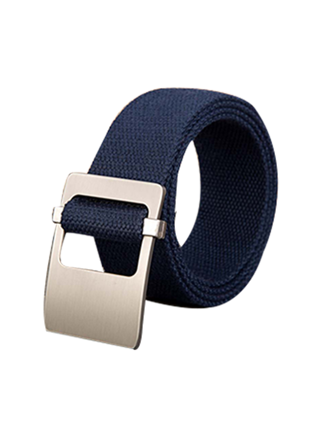 Unisex Canvas Adjustable Holeless Flat Metal Buckle Solid Color Belt Navy Blue