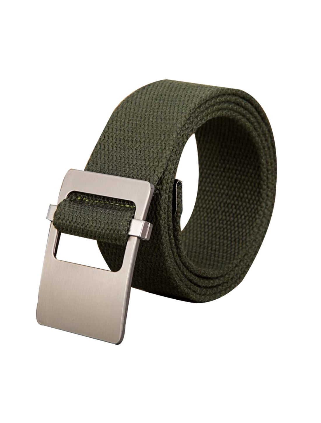 Unisex Canvas Adjustable Holeless Flat Metal Buckle Solid Color Belt Army Green