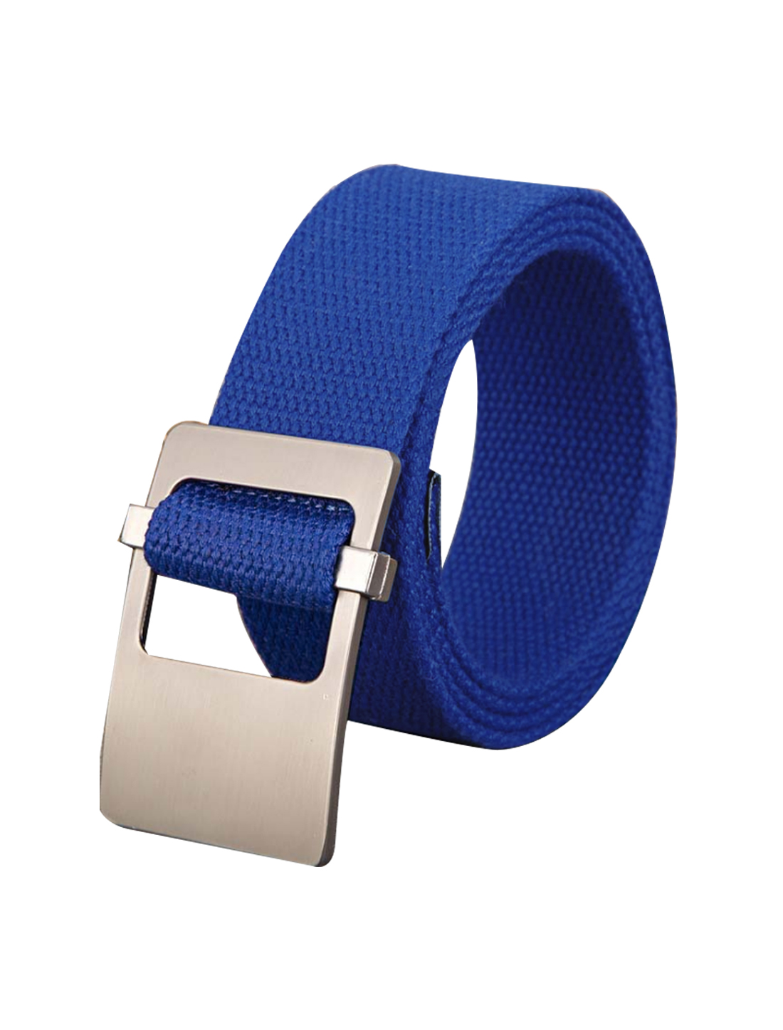Unisex Canvas Adjustable Holeless Flat Metal Buckle Solid Color Belt Royal Blue