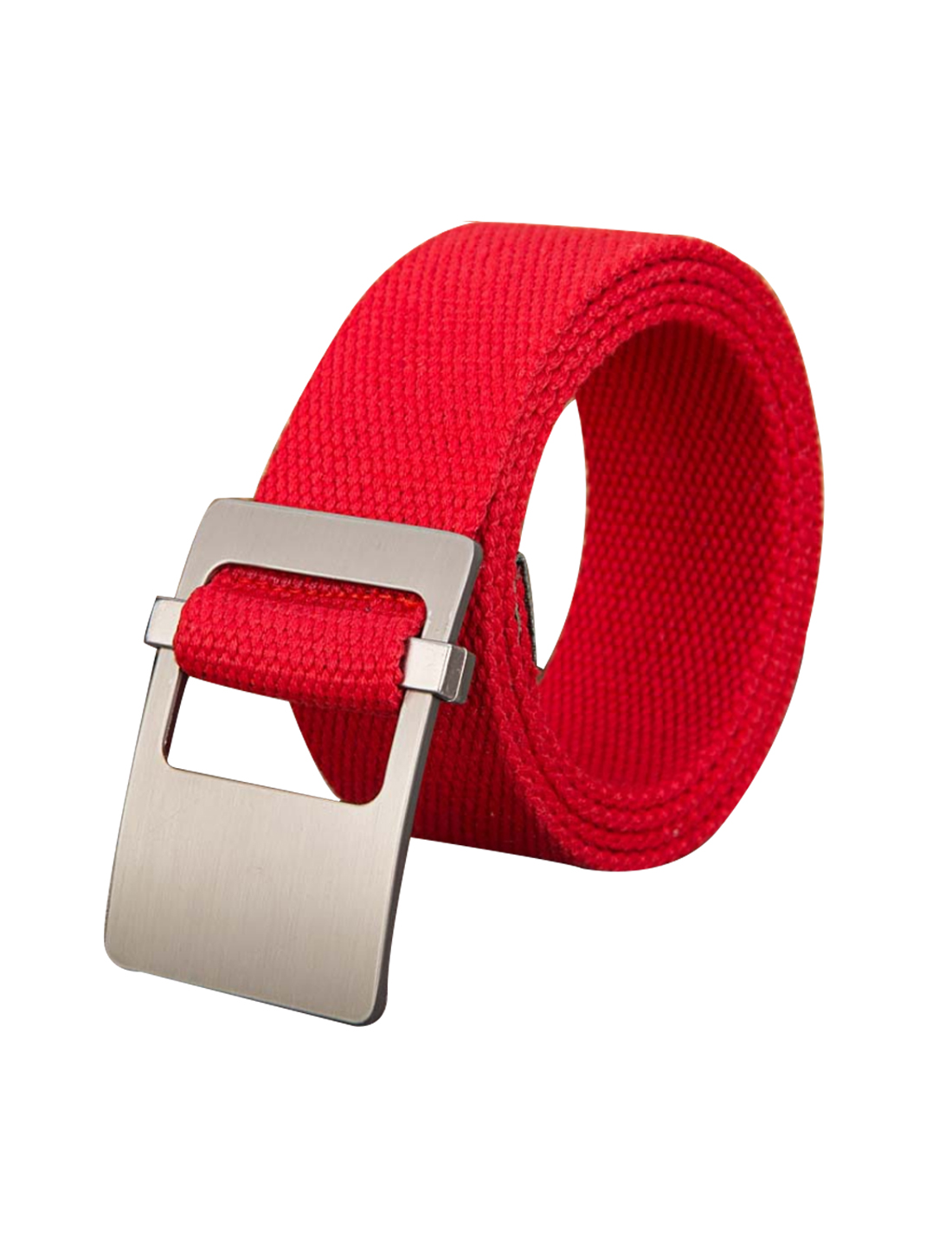 Unisex Canvas Adjustable Holeless Flat Metal Buckle Solid Color Belt Red