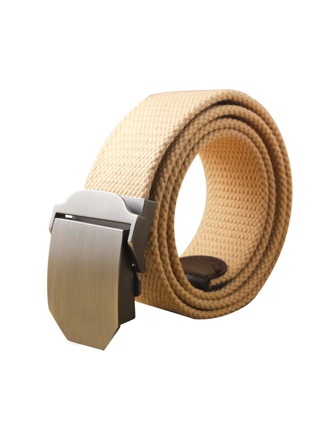 "Men Canvas Automatic Buckle Adjustable Holeless Outdoor Belt Width 1 1/2"" Khaki"