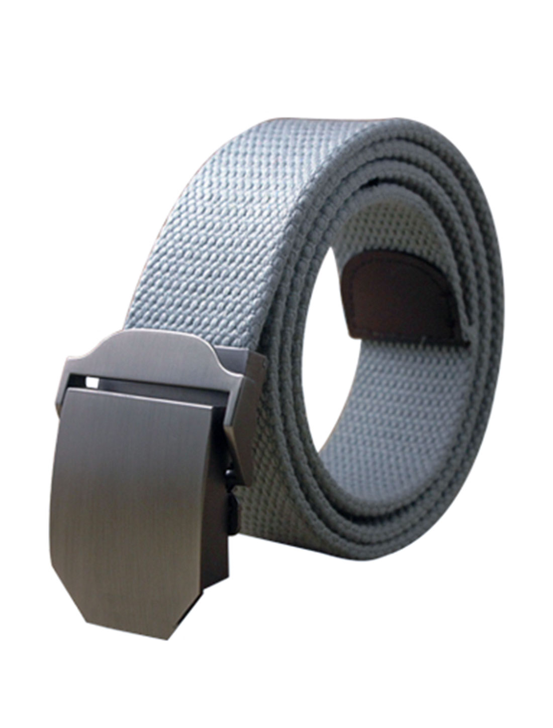 "Men Canvas Automatic Buckle Adjustable Holeless Belt Width 1 1/2"" Light Gray"