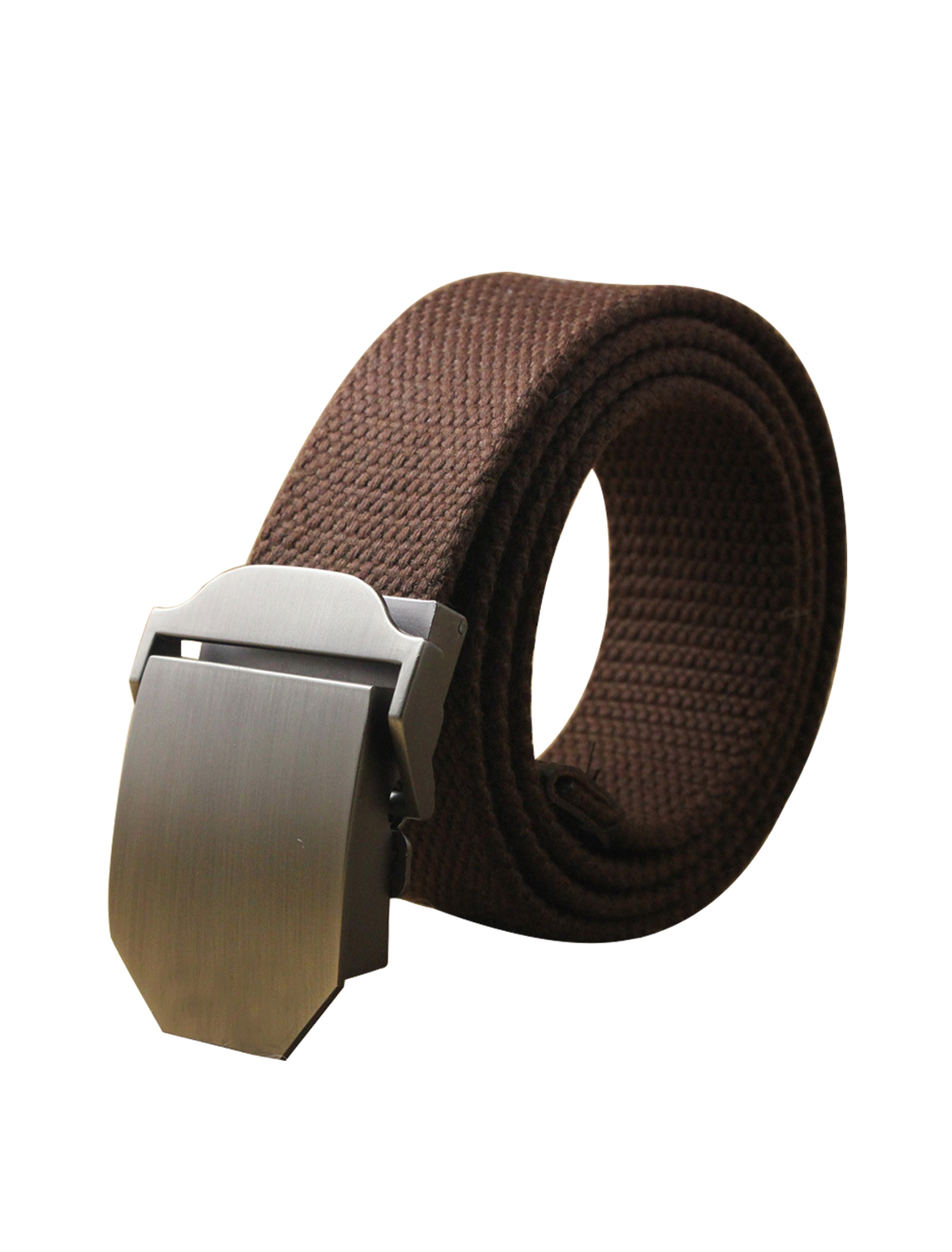 "Men Canvas Automatic Buckle Adjustable Holeless Belt Width 1 1/2"" Coffee"