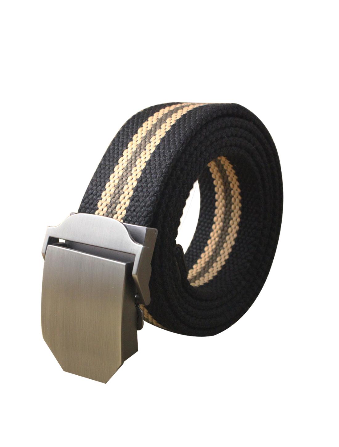 "Men Canvas Automatic Buckle Adjustable Holeless Striped Belt Width 1 1/2"" Black"