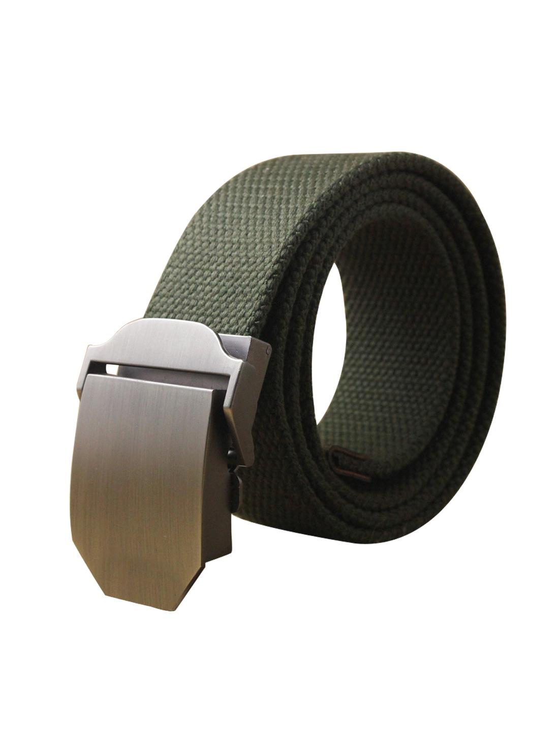 "Men Canvas Automatic Buckle Adjustable Holeless Belt Width 1 1/2"" Dark Green"