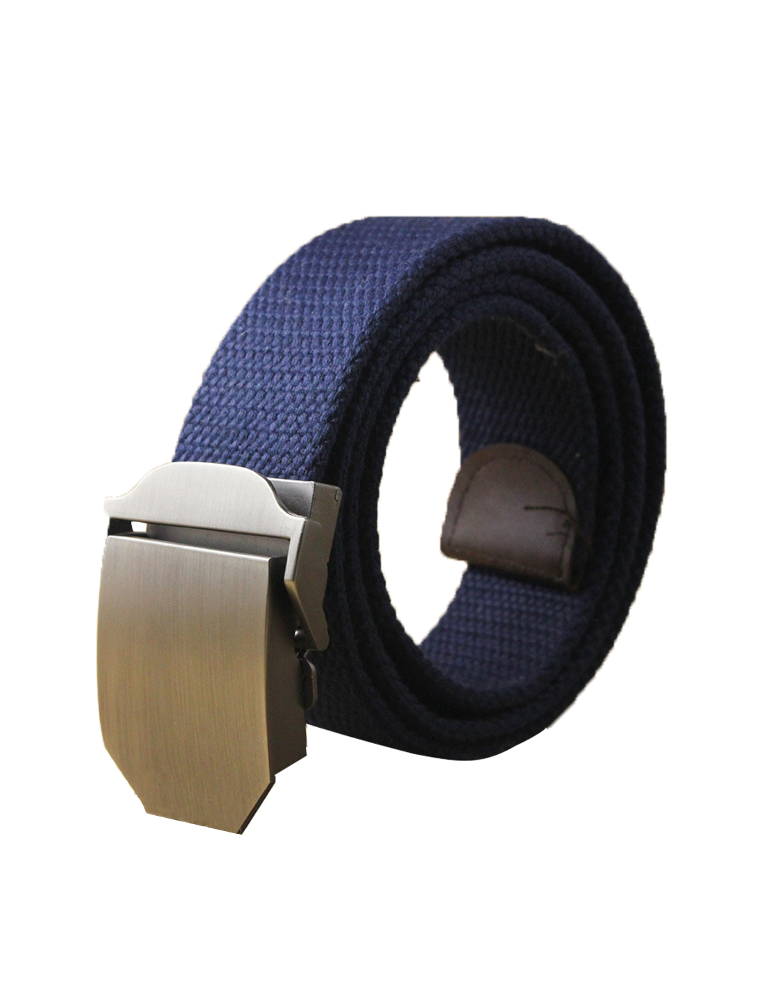"Men Canvas Automatic Buckle Adjustable Holeless Belt Width 1 1/2"" Dark Blue"