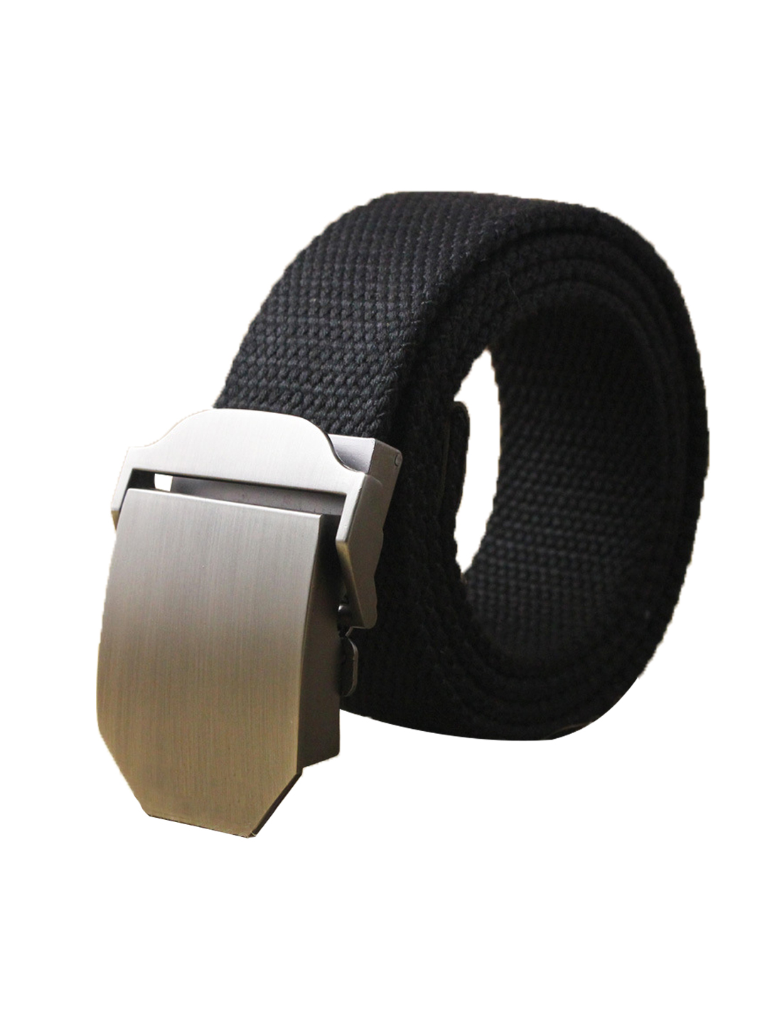 "Men Canvas Automatic Buckle Adjustable Holeless Belt Width 1 1/2"" Black"