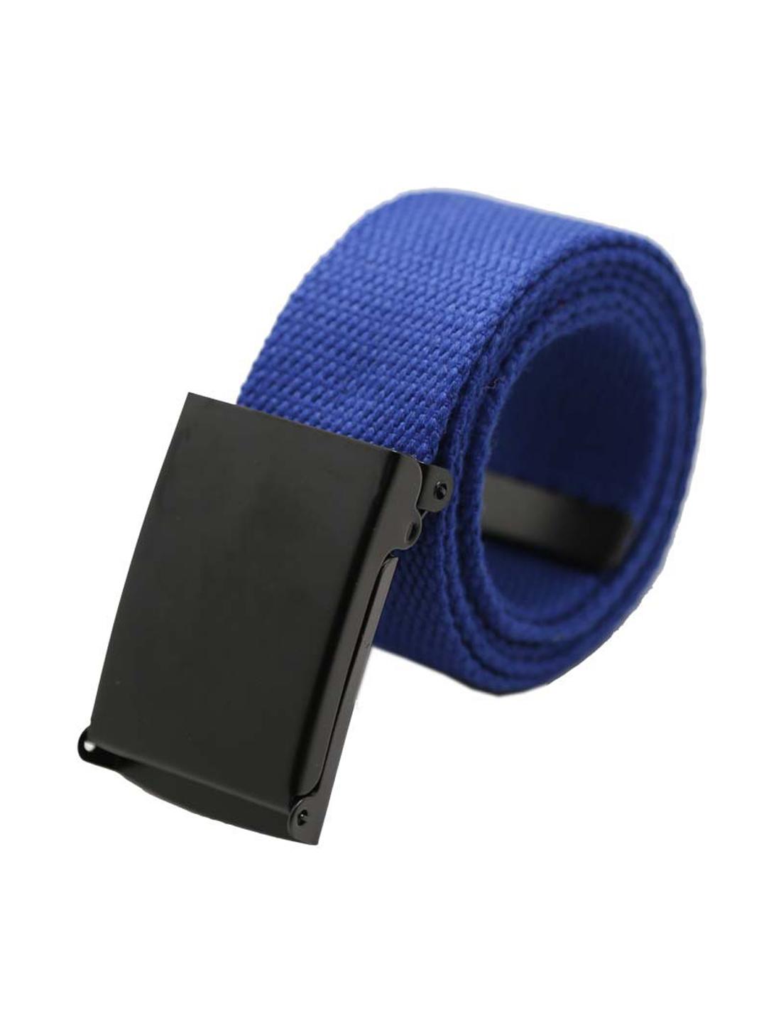 "Unisex Canvas No Holes Slide Buckle Adjustable Waist Belt Width 1 5/8"" Royal"