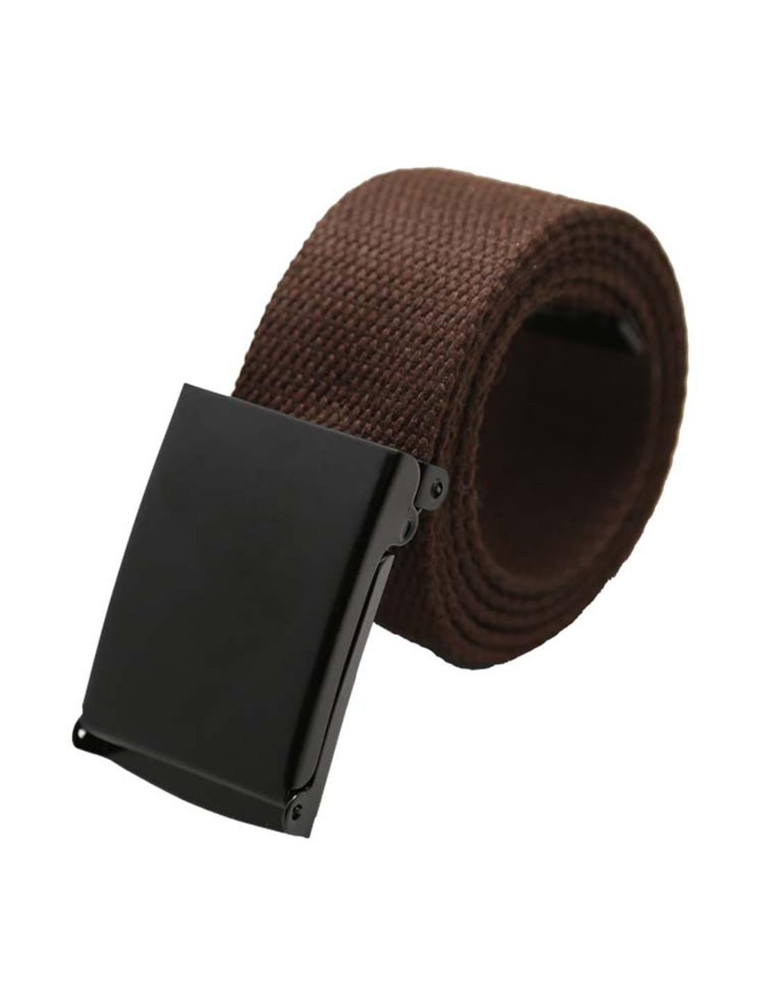 "Unisex Canvas No Holes Slide Buckle Adjustable Waist Belt Width 1 5/8"" Brown"