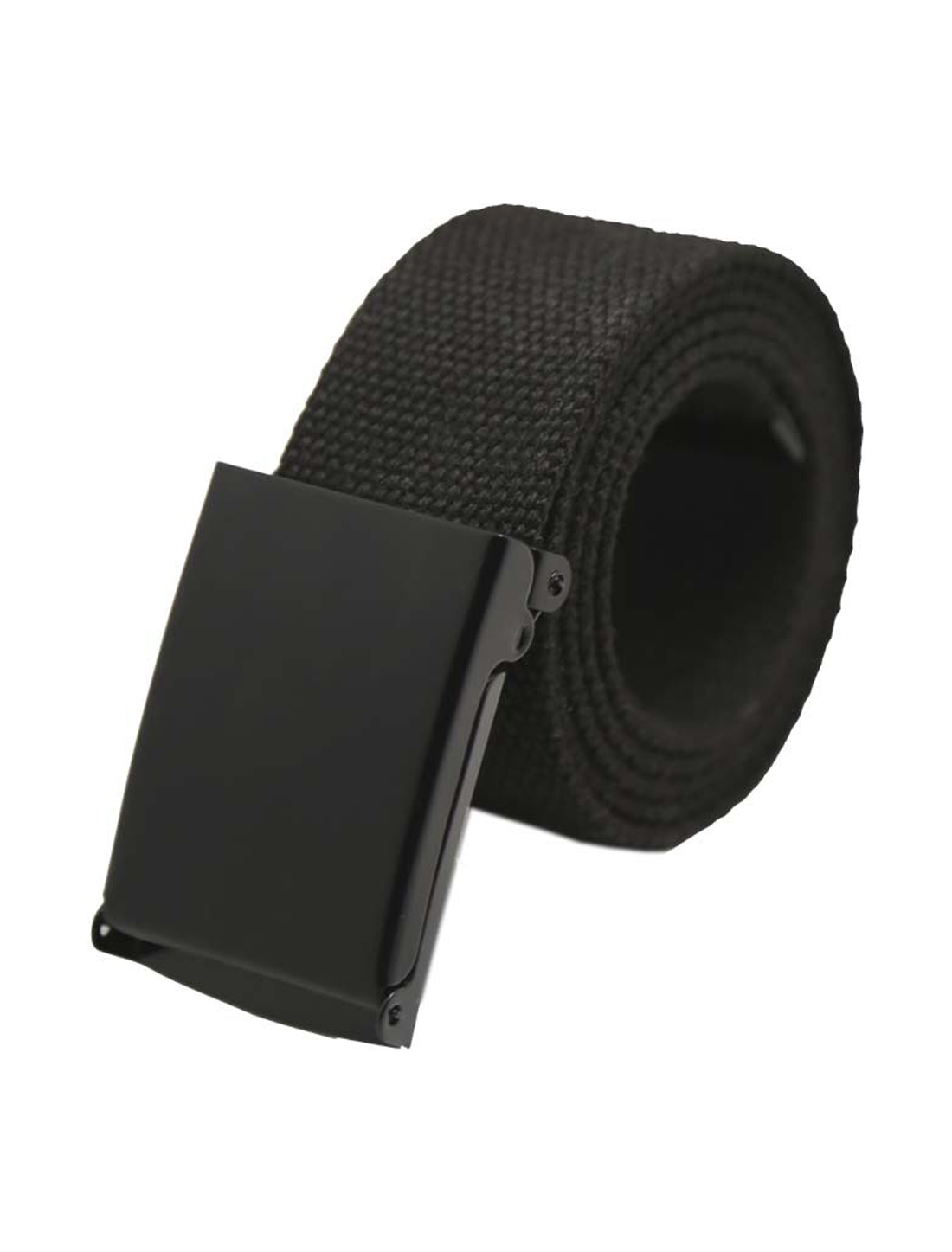 "Unisex Canvas No Holes Slide Buckle Adjustable Waist Belt Width 1 5/8"" Black"