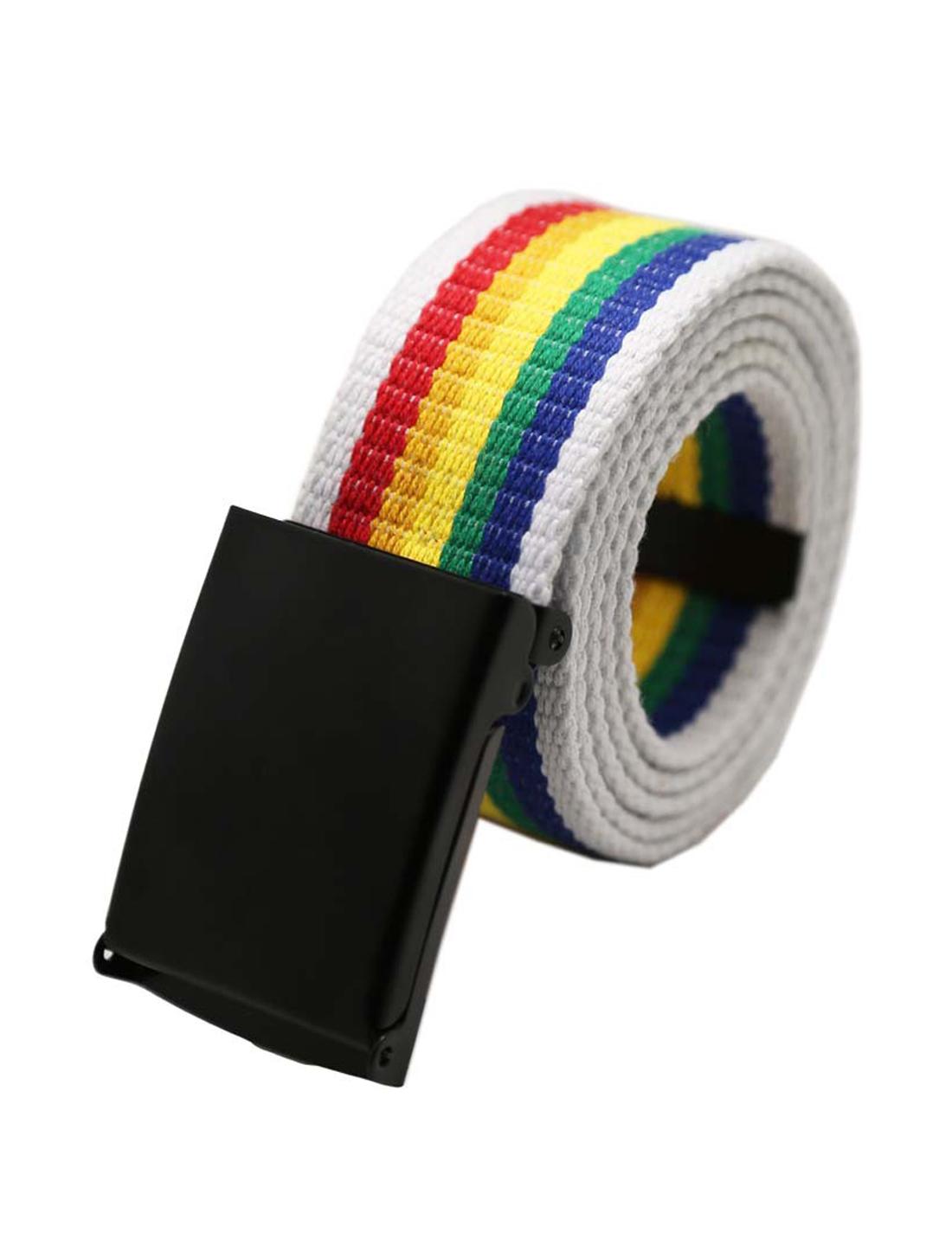 "Unisex Canvas No Hole Slide Buckle Waist Belt Width 1 5/8"" Multicolor"