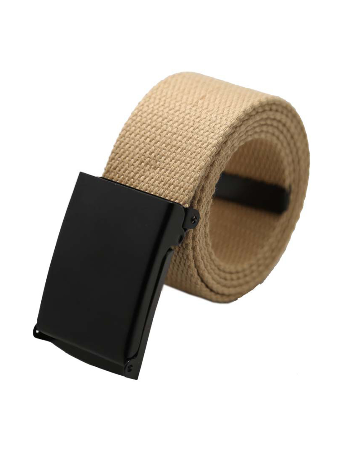 "Unisex Canvas No Hole Slide Buckle Waist Belt Width 1 5/8"" Beige"