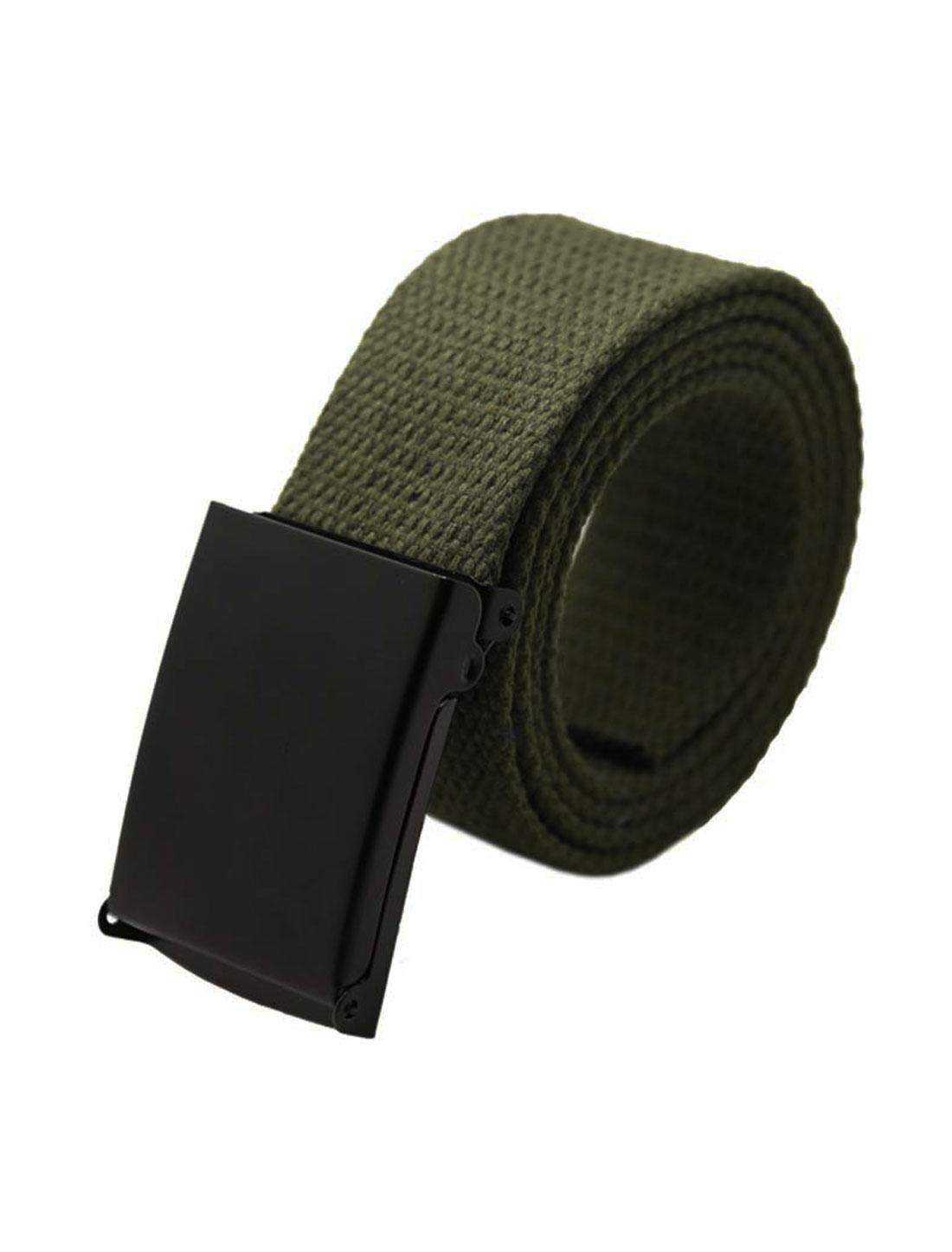 "Unisex Canvas No Hole Slide Buckle Waist Belt Width 1 5/8"" Army Green"