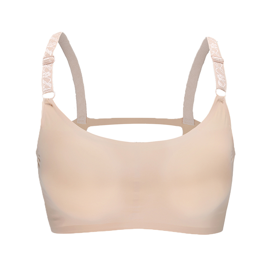 Women 2 Pack Ice Silk Seamless Sexy Strappy Back Crop Top Bra Beige Large