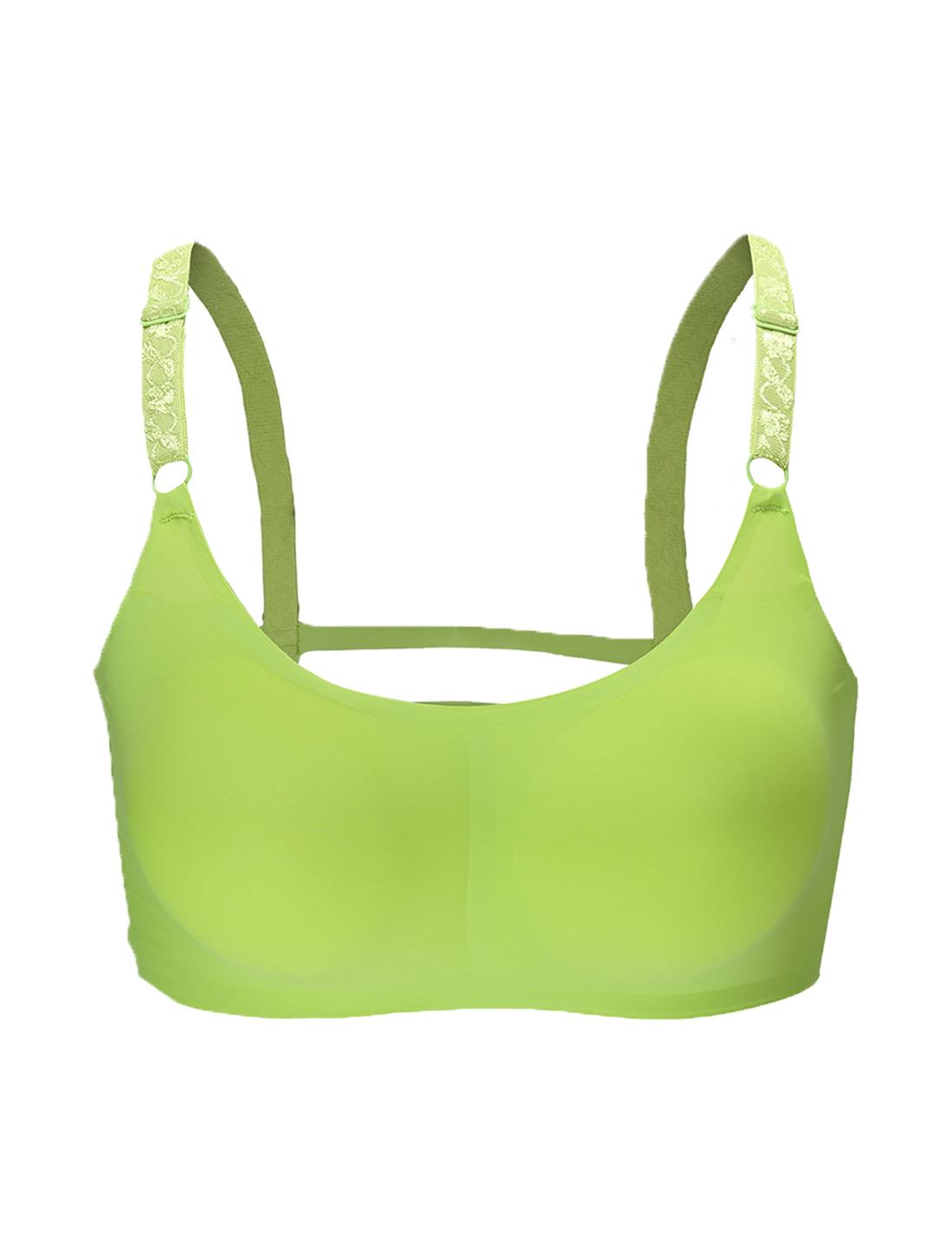 Women 2 Pack Ice Silk Seamless Sexy Strappy Back Crop Top Bra Apple Green Medium