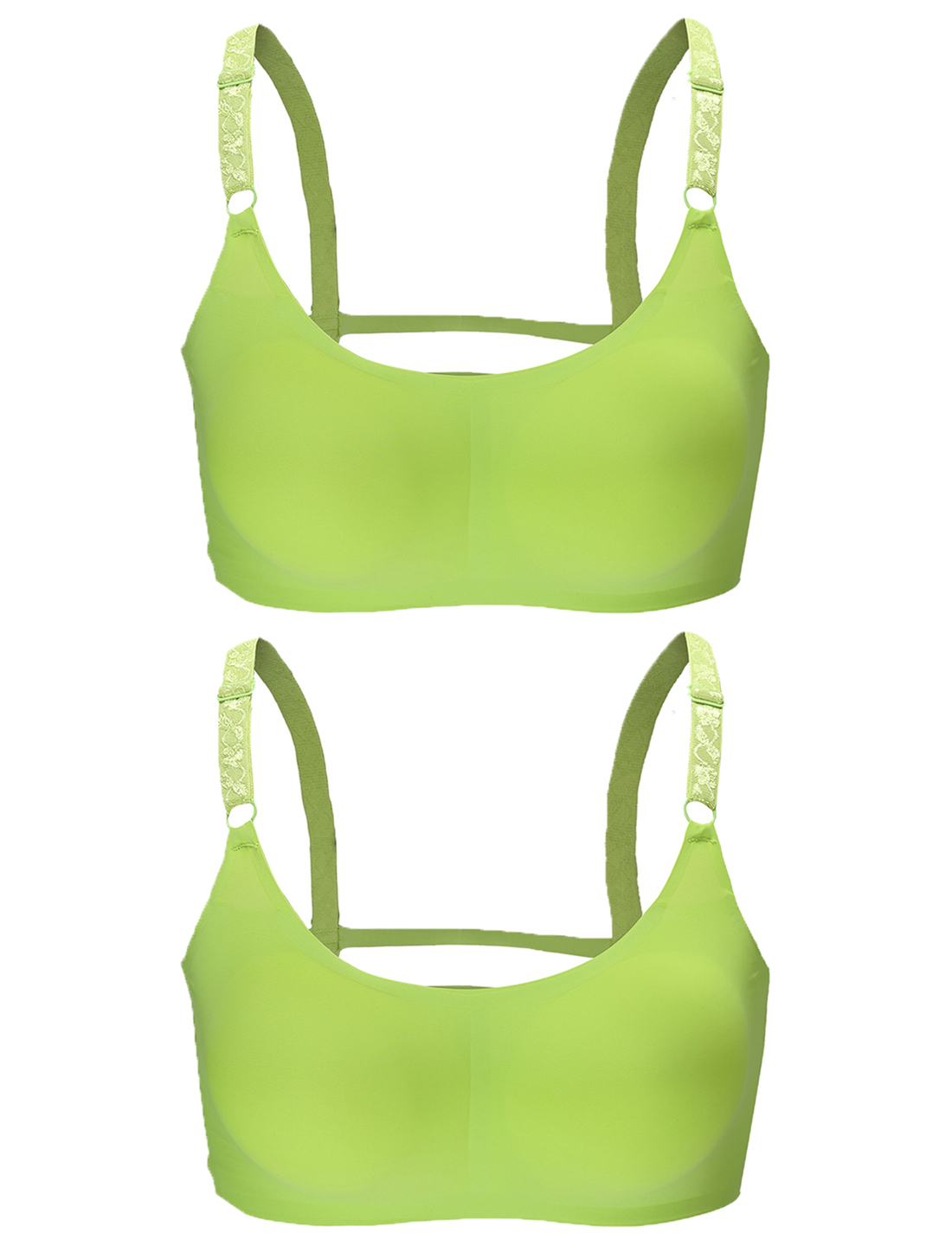 Women 2 Pack Ice Silk Seamless Sexy Strappy Back Crop Top Bra Apple Green Large