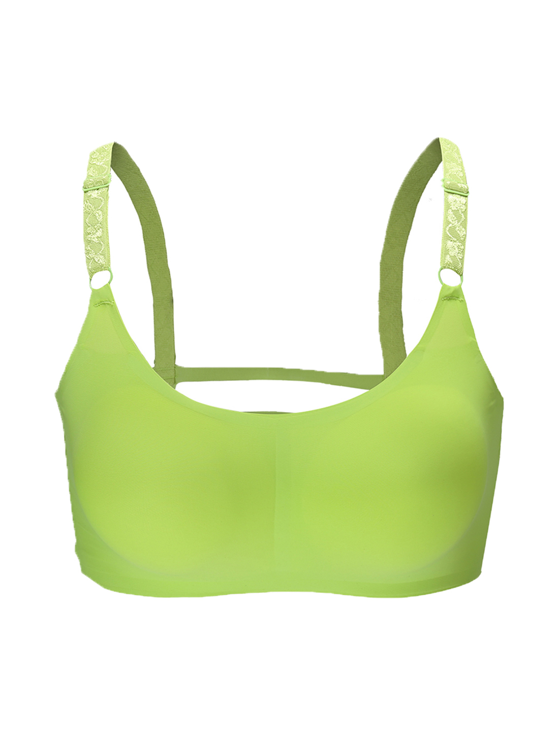 Women 2 Pack Ice Silk Seamless Sexy Strappy Back Crop Top Bra Apple Green XLarge