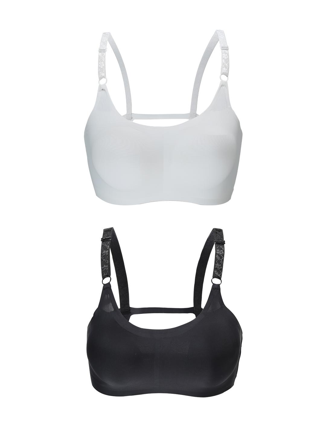 Women 2 Pack Ice Silk Sexy Strappy Back Crop Top Bra Black+White XLarge