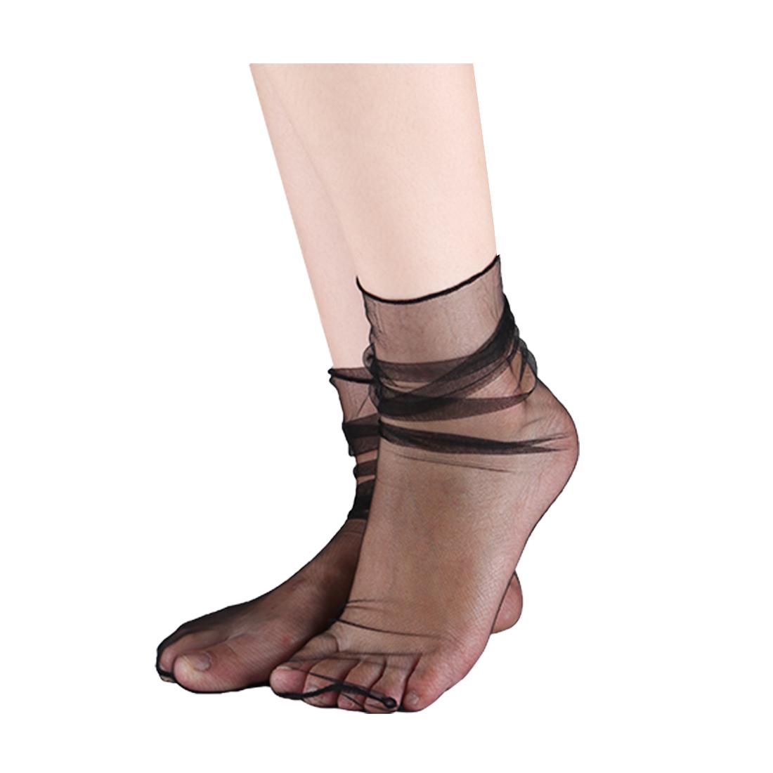 Women 10 Packs Lace Translucent Breathable Ankle High Sheer Socks Mesh Black