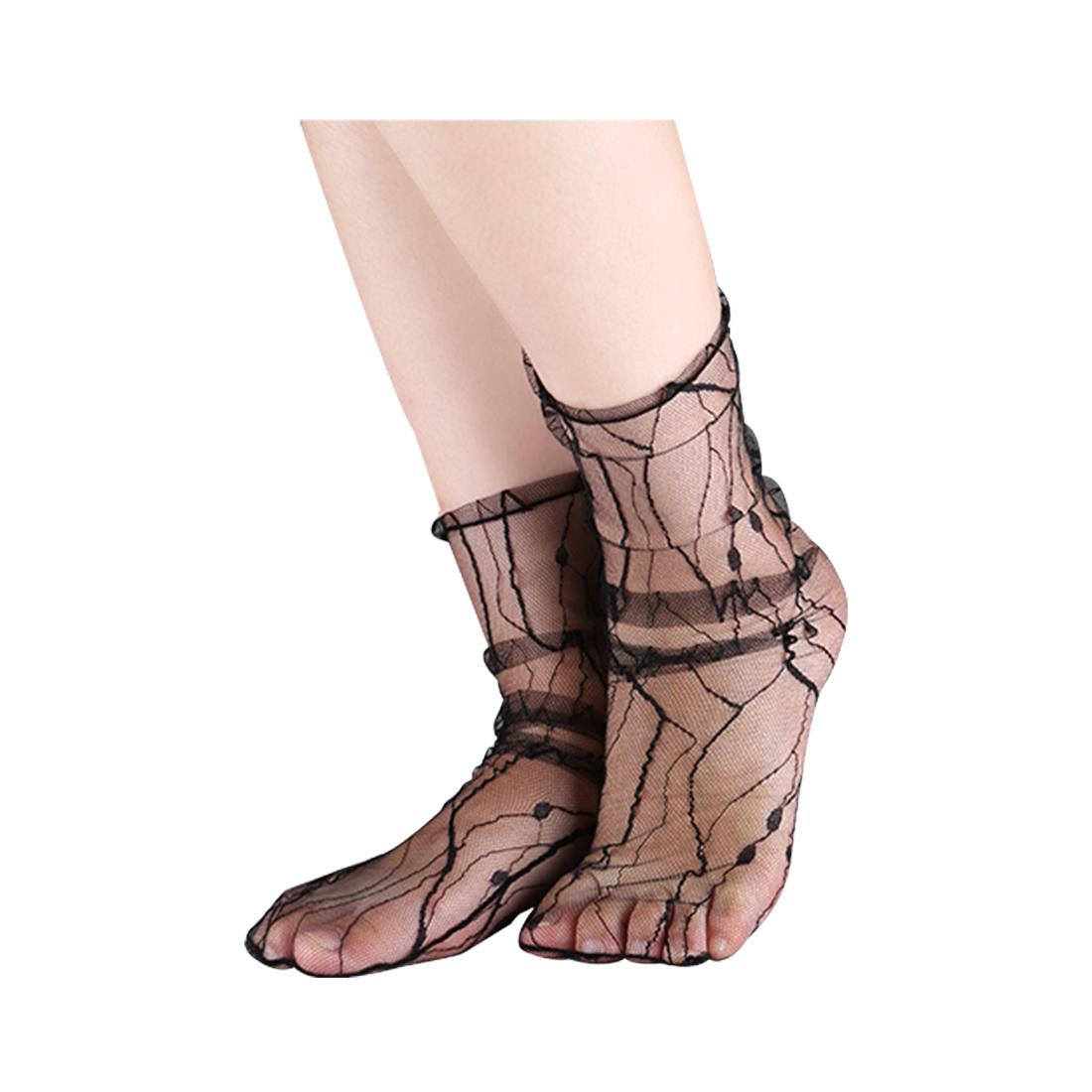 Women 10 Packs Lace Translucent Breathable Ankle High Sheer Socks Ripple Black