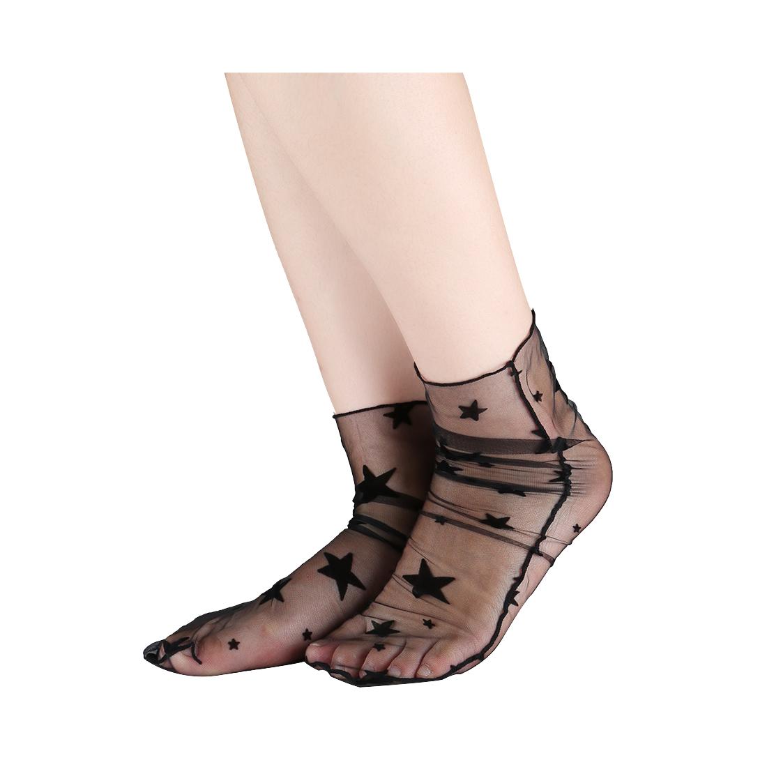 Women 10 Packs Lace Translucent Breathable Ankle High Sheer Socks Star Black