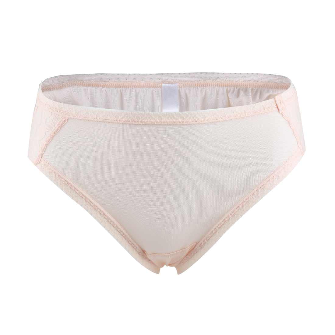 Women Natural Silk Laced Breathable Translucent Hi-Cut Panties Light Pink Large