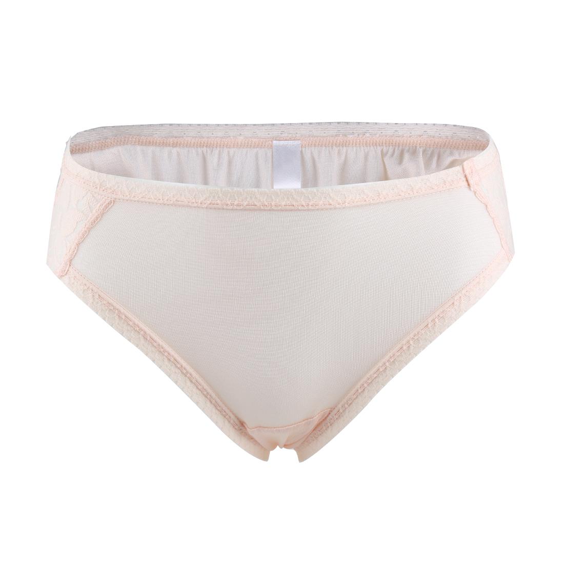 Women Natural Silk Laced Breathable Translucent Hi-Cut Panties Light Pink Large