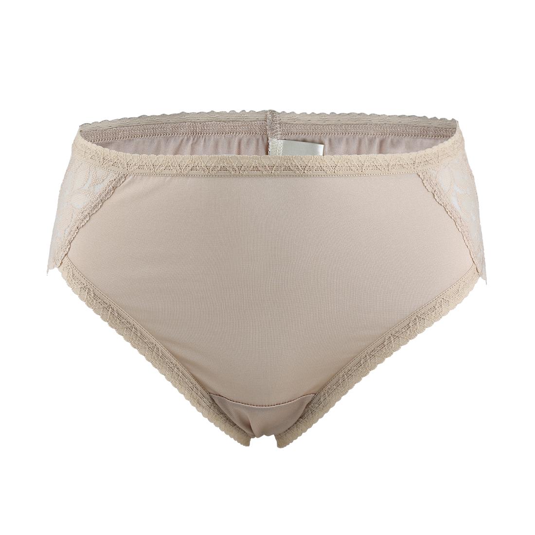 Women Mulberry Silk Laced Breathable Translucent Hi-Cut Panties Beige Meidum