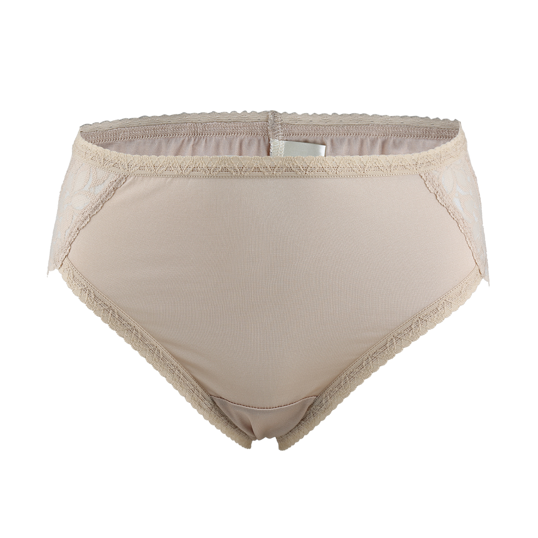 Women Mulberry Silk Laced Breathable Translucent Hi-Cut Panties Beige Large