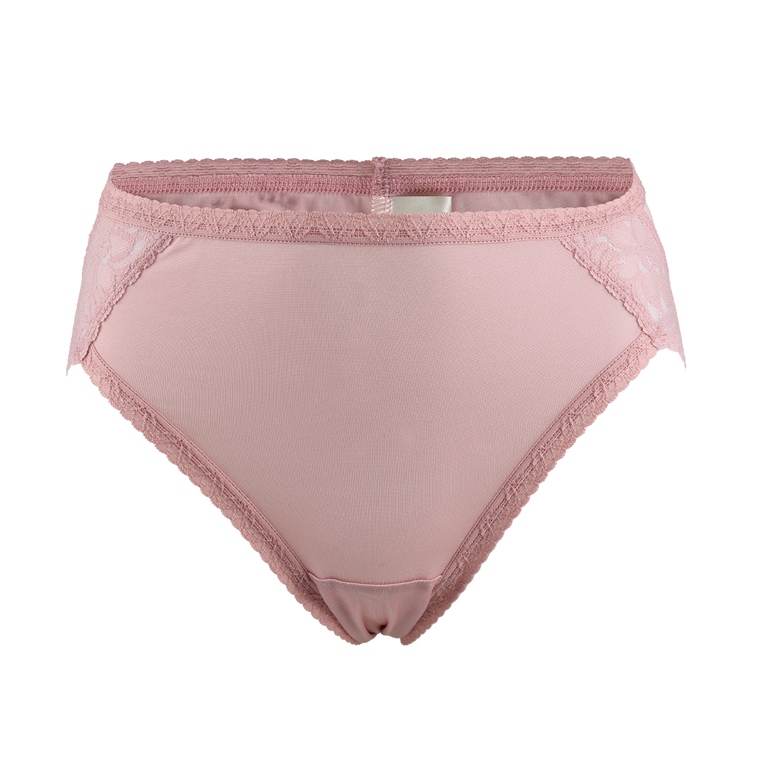 Women Mulberry Silk Laced Breathable Translucent Hi-Cut Panties Pink Meidum