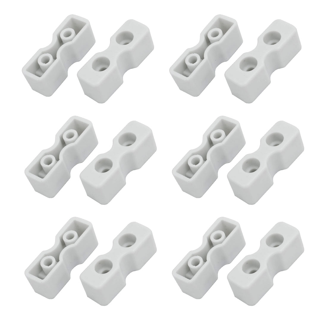 46mmx15mmx16mm ABS Plastic Double Hole Bed Board Tray Bracket 12pcs