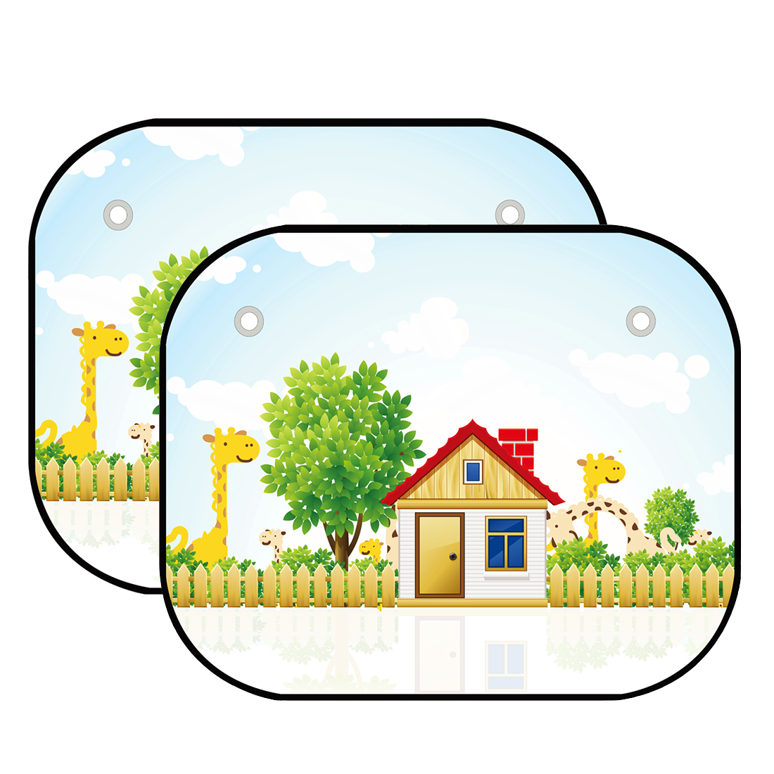 JOYREN Authorized 2 Pcs Baby Car Side Windows Sun Shades - Auto Sunshades Protector with Cartoon House Pattern to Block Harmful UV Rays and Heat