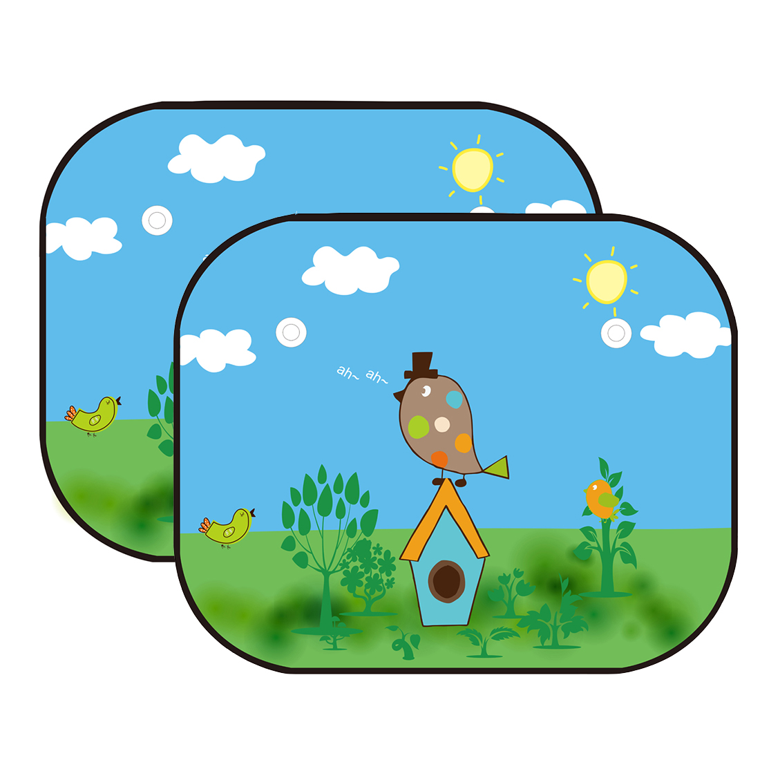 JOYREN Authorized 2 Pcs Baby Car Side Windows Sun Shades - Auto Sunshades Protector with Cartoon Bird Pattern to Block Harmful UV Rays and Heat