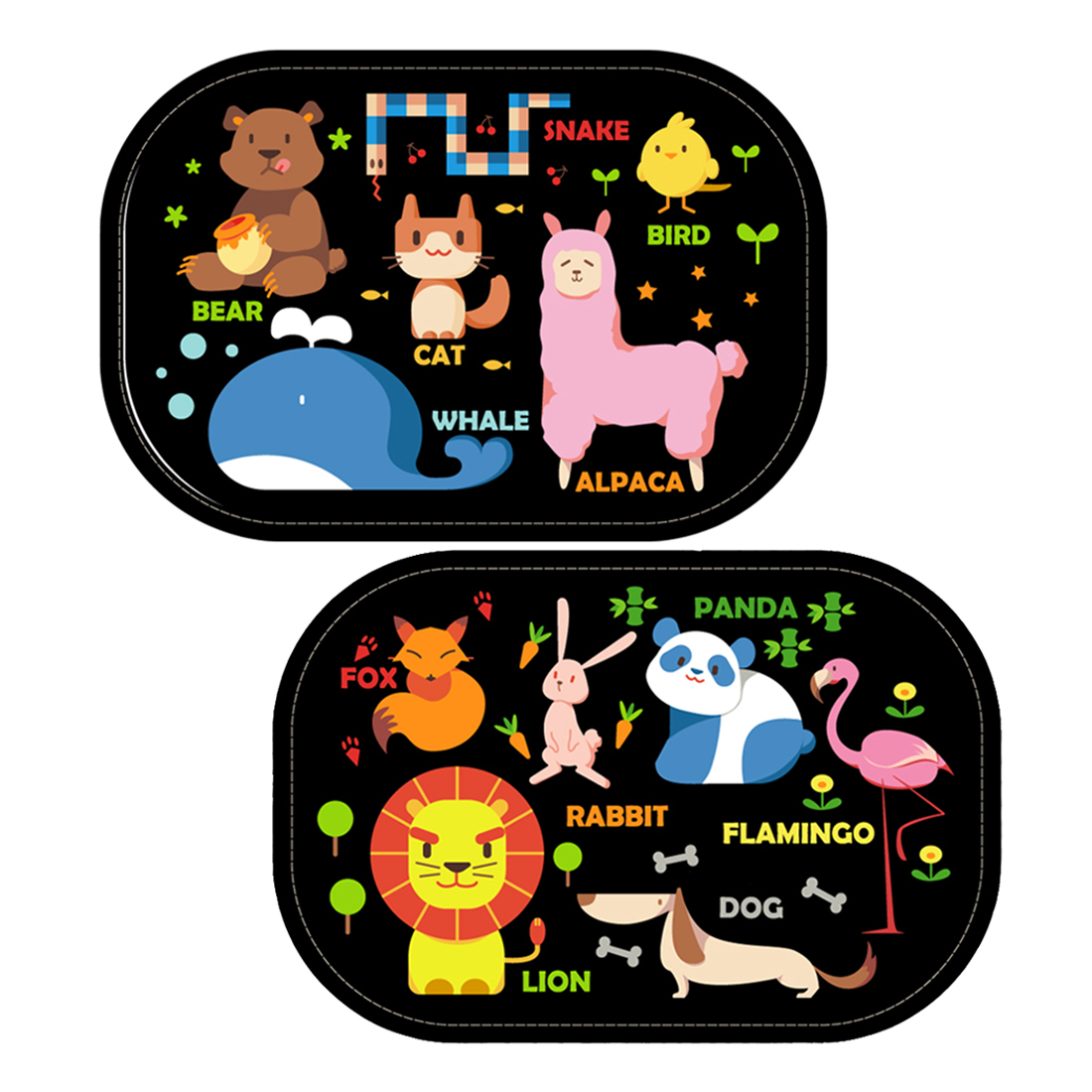 JOREN Authorized 2 Pack Static Car Side Window Sun Shades - Baby Auto Sunshades Visor Protector with Cartoon Animal World Design Block Harmful UV Rays