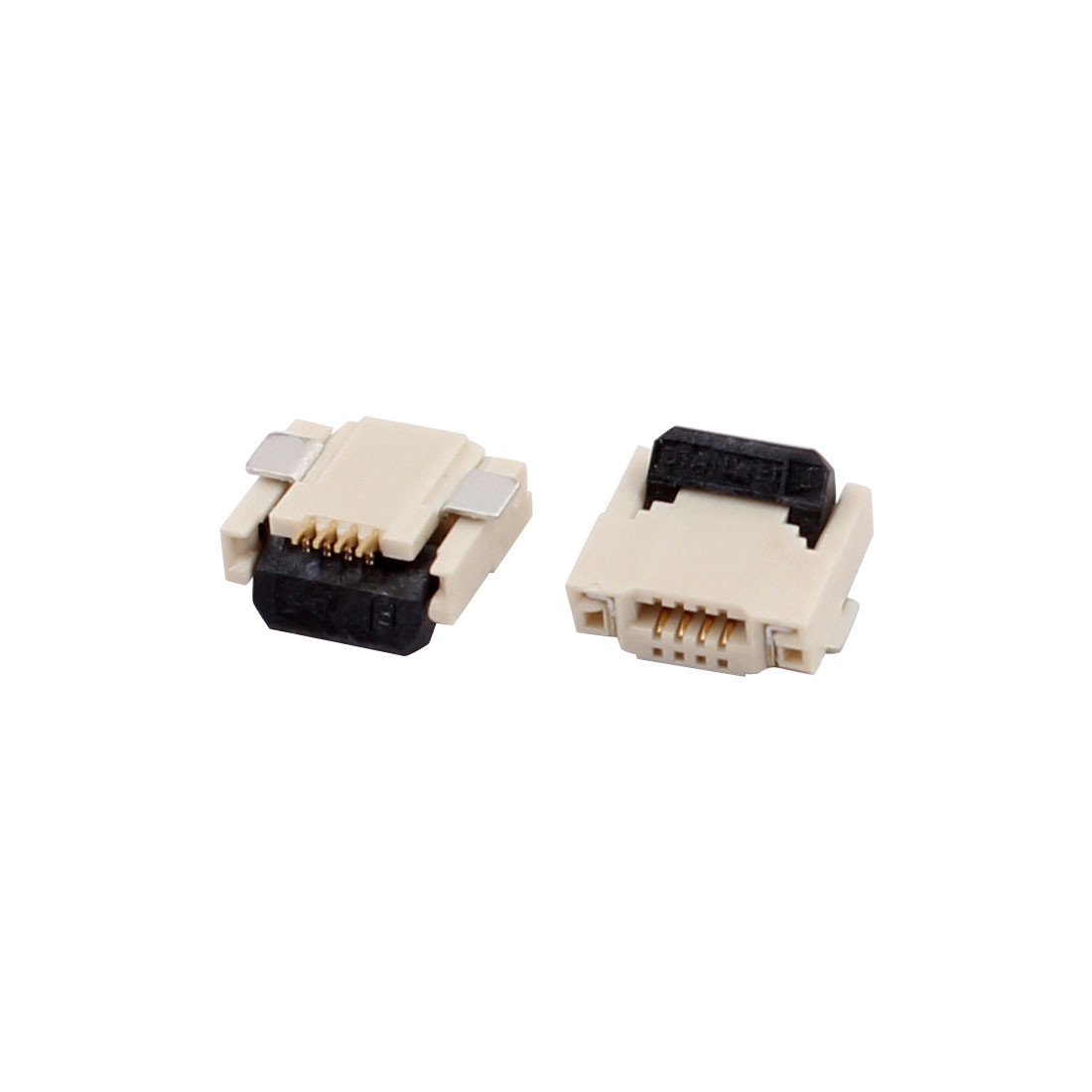 2Pcs FPC 4P 0.5mm Pitch 2mm Thick Double Sides Contact Flat Connector Socket