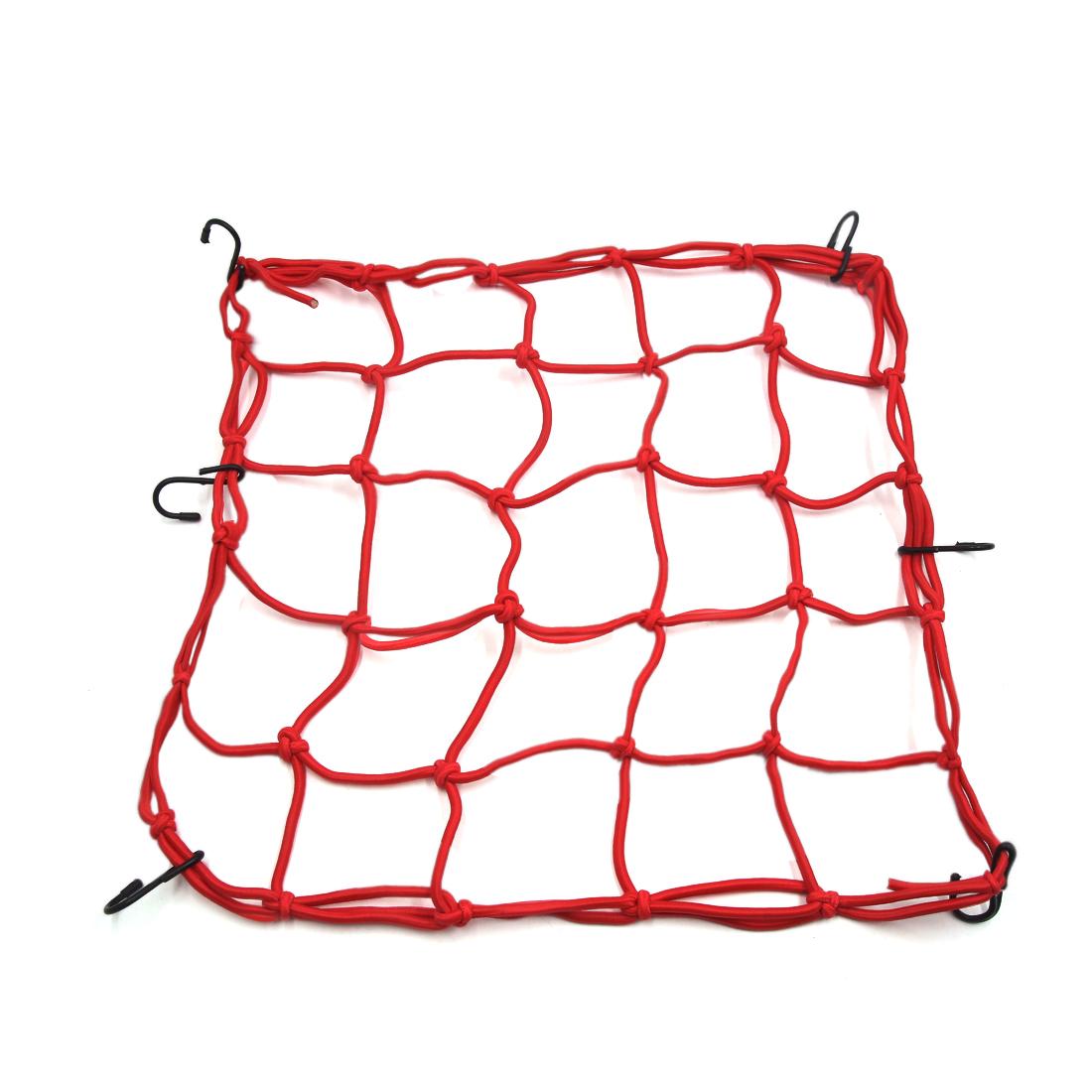 40 x 40cm Motorcycle Luggage Fuel Cargo Net Mesh Web Storage Holder Red