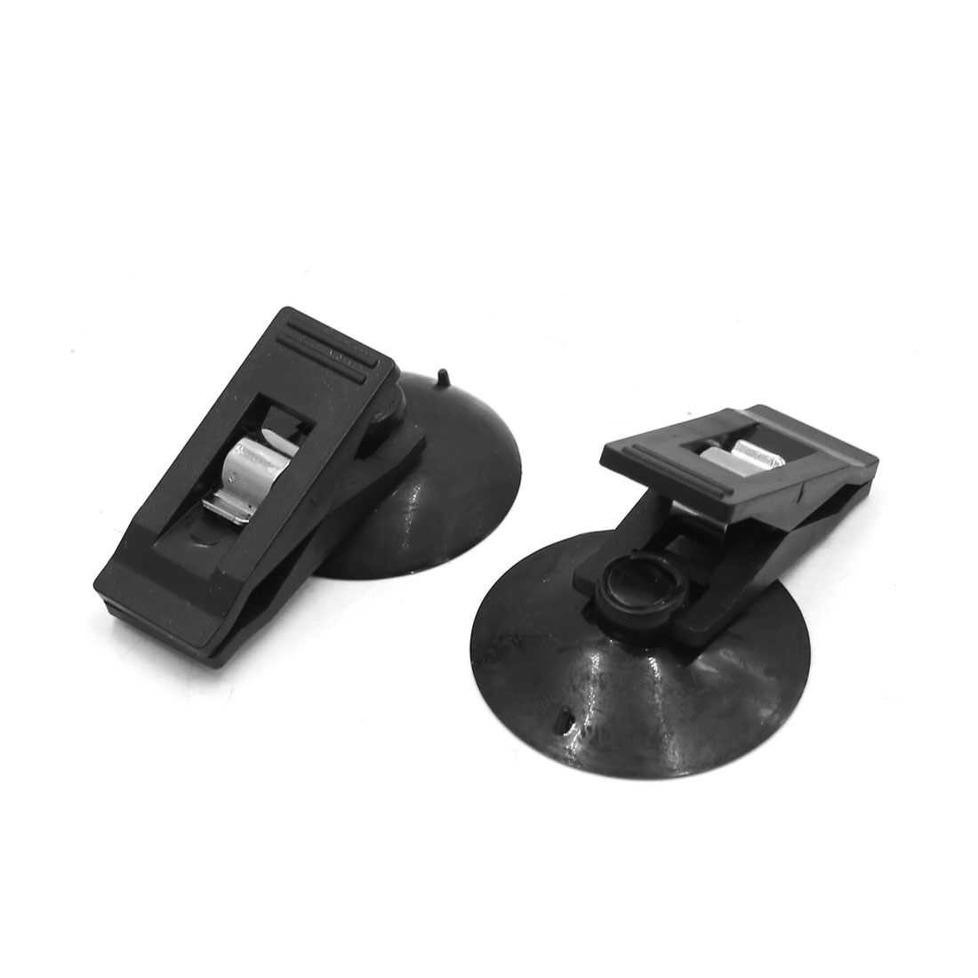 2Pcs Black Plastic Suction Cup Windshield Curtain Card Photo Clip for Vehicle