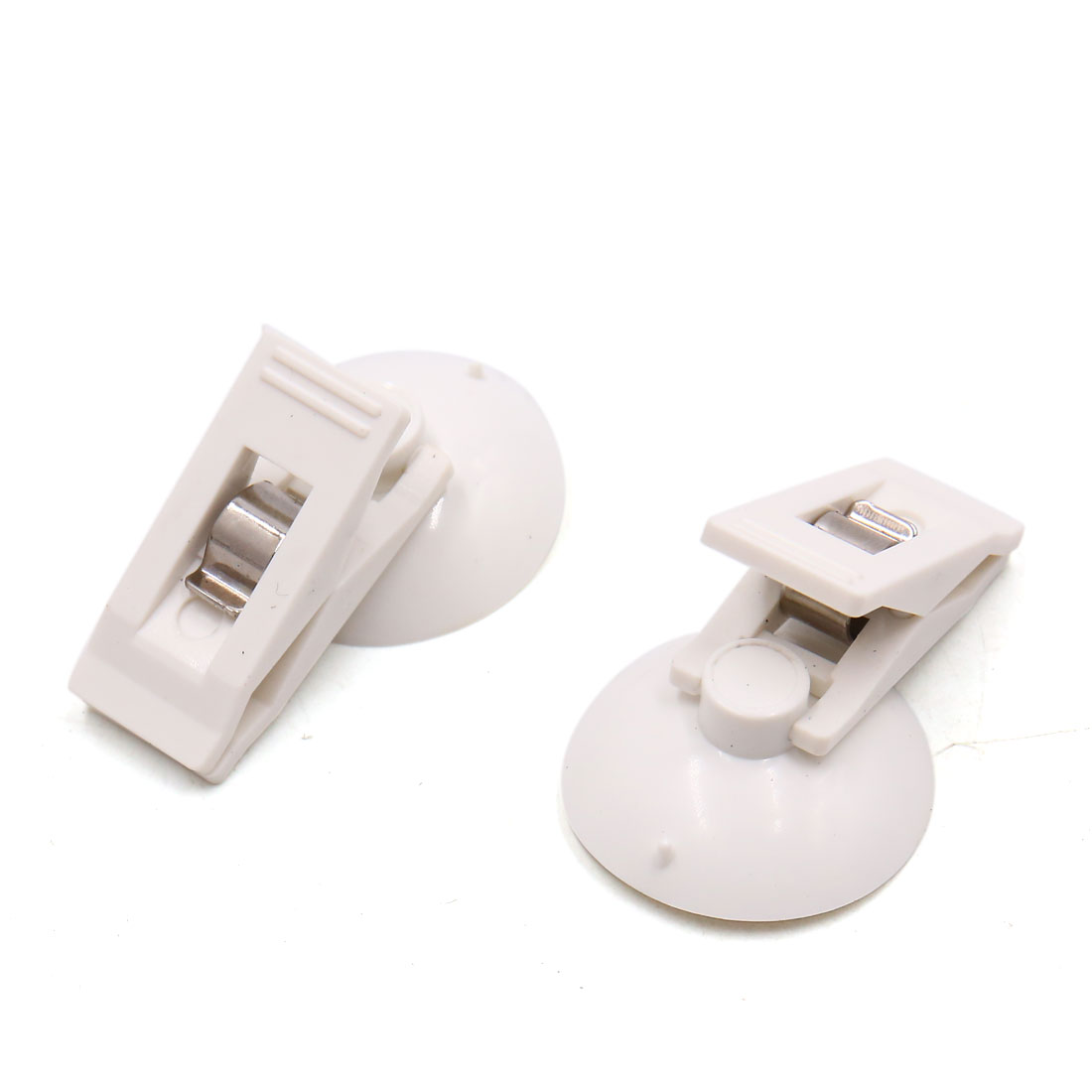 2Pcs White Plastic Suction Cup Windshield Curtain Card Photo Clip for Vehicle